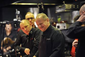 Joel Robuchon smiles during his Cooking and Wine Demo (credit Isaac Brekken for Bon Appetit)