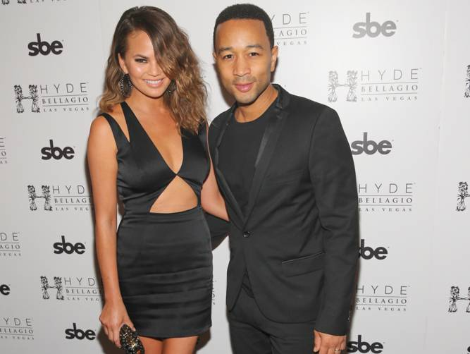 John Legend & Chrissy Teigen at Hyde Bellagio, Las Vegas, 5.17.14 (photo credit - Hyde Bellagio)