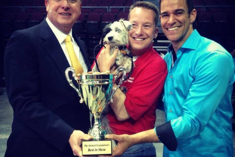 The Animal Foundation's 11th Annual Best In Show Winner Jackson poses with his trophy, Las Vegas, 4.27.14