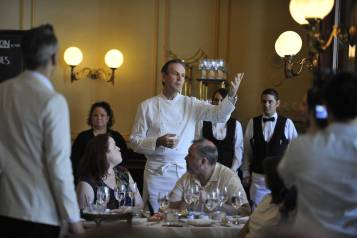 Thomas Keller gives remarks during At the Table with Thomas Keller at Bouchon (credit Isaac Brekken for Bon Appetit)