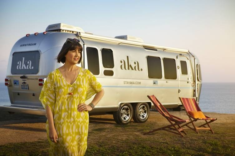 Trina Turk in her Bardo Dress in Margarita Outside of the AKA Mobile Suite