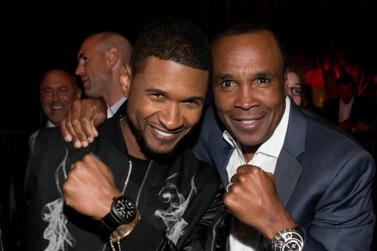 Usher and Sugar Ray Leonard at SRL Foundation Charity Boxing Night - Getty
