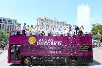 Vegas Uncork'd by Bon Appetit Saber Off at Bellagio (credit Isaac Brekken for Bon Appetit)