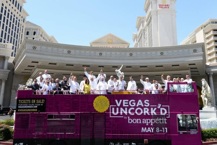 Vegas Uncork'd by Bon Appetit Saber Off at Caesars Palace (credit Isaac Brekken for Bon Appetit)