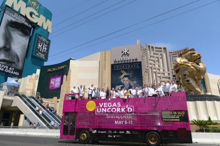 Vegas Uncork'd by Bon Appetit Saber Off at MGM Grand (credit Isaac Brekken for Bon Appetit)