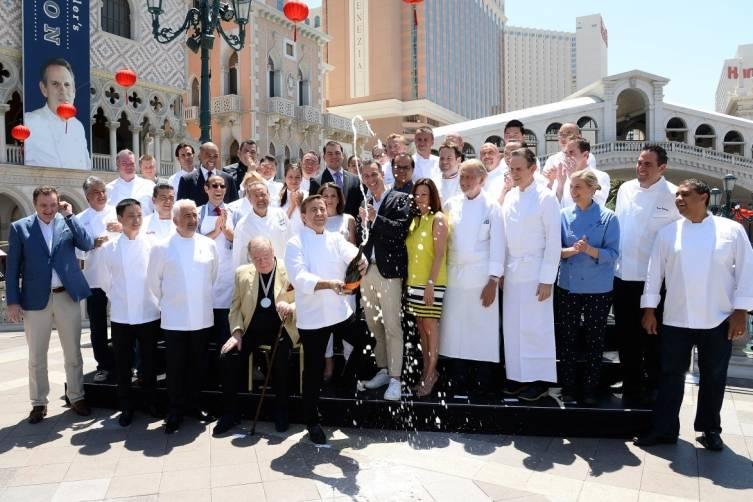 Vegas Uncork'd by Bon Appetit Saber Off at The Venetian (credit Isaac Brekken for Bon Appetit)