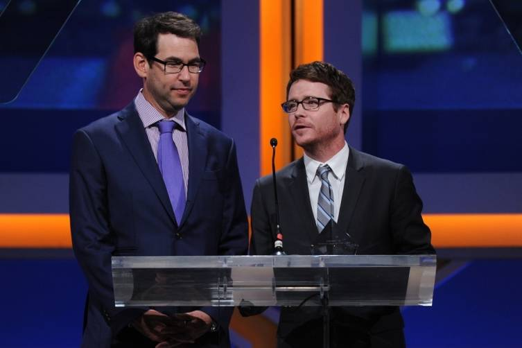 Writer Doug Ellin and actor Kevin Connolly on stage at the 2014 Sports Spectacular Gala (Alberto E. Rodriguez,Getty Images)