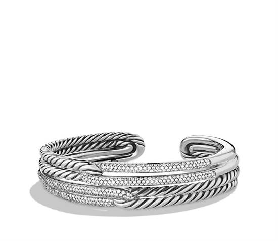 David Yurman Labyrinth Double-Loop Cuff with Diamonds, $5600, available at David Yurman Beverly Hills or saks.com