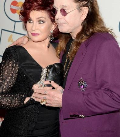 Sharon Osbourne  and Ozzy Osbourne wearing Dionia Orcini at the Grammy's