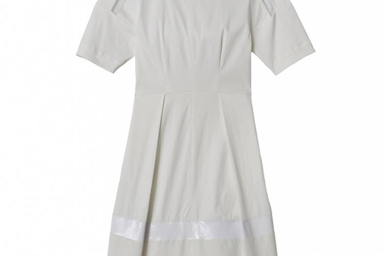 $350- ShortSleeve Poplin Dress with Mesh and Laminate stripe, cotton poplin:mesh