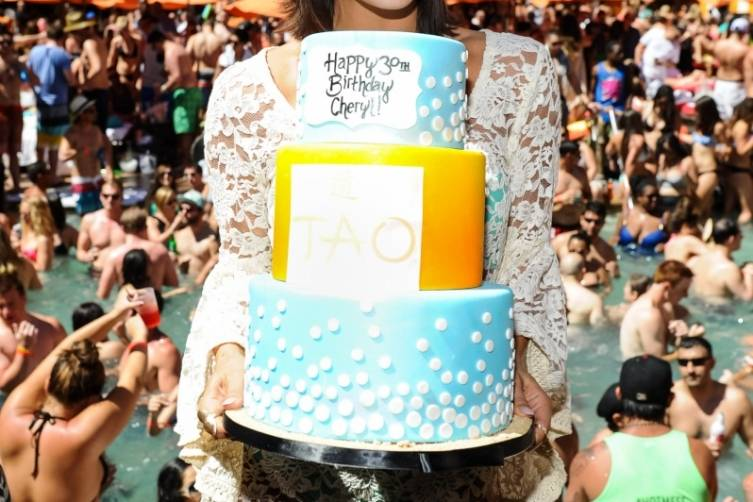 Cheryl Burke With TAO Beach Birthday Cake