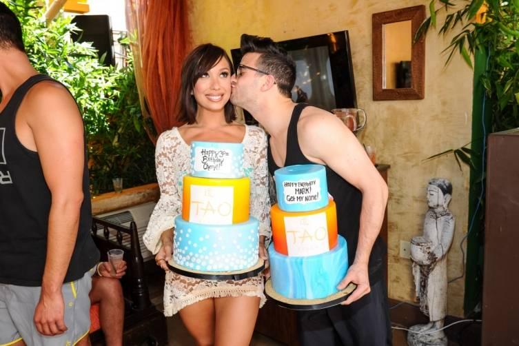 Cheryl Burke and Mark Ballas With Birthday Cakes