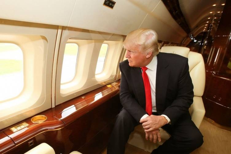 Donald Trump Inside His Private Jet