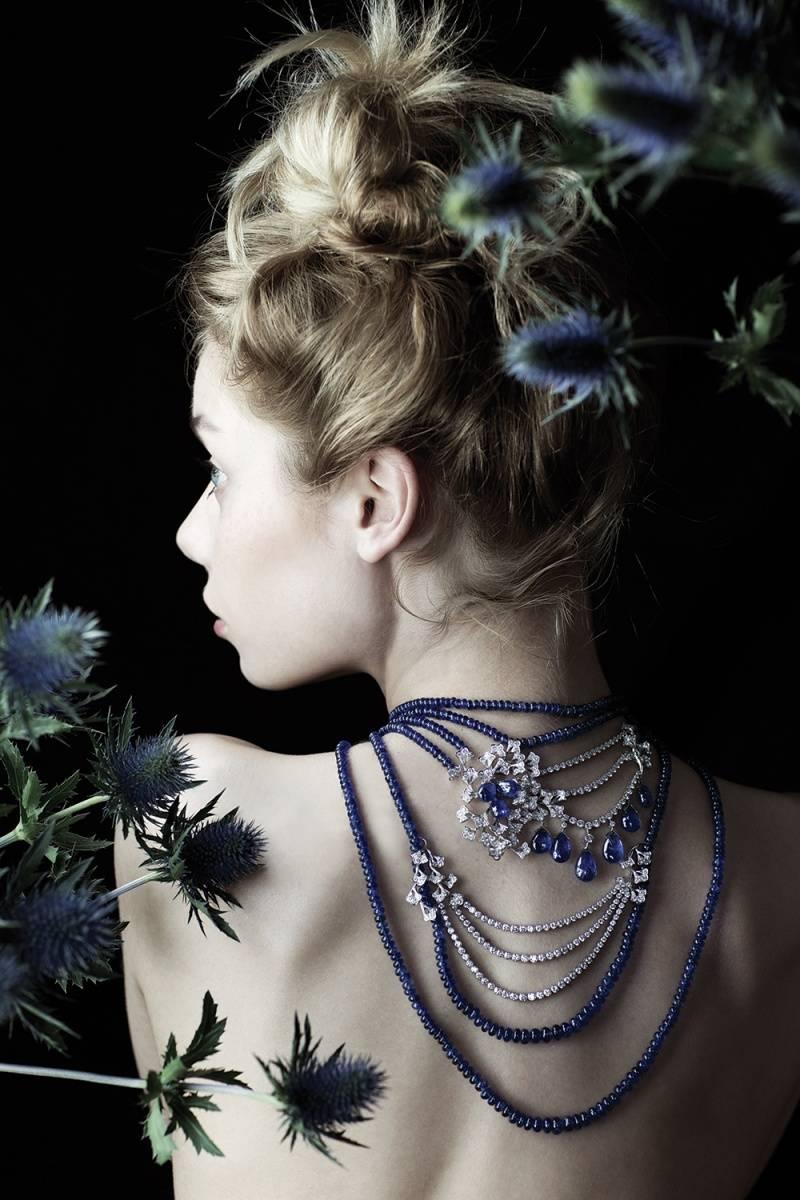 """CARTIER    Necklace """"Bleuets"""" : Platinum, 9 blue drop sapphires, 822 blue ball sapphires, 386 round diamonds"""