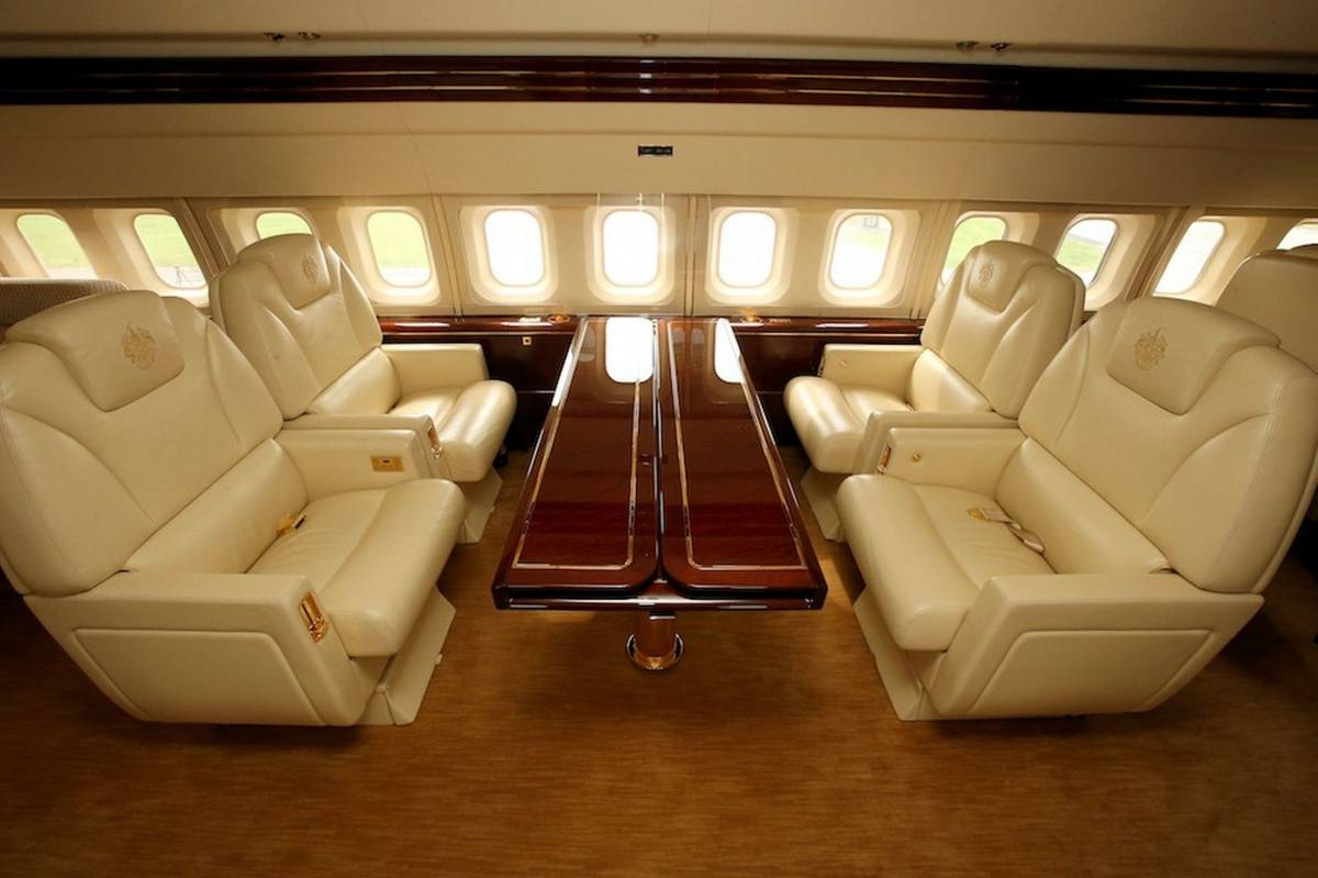 The main salon of Trump's private jet