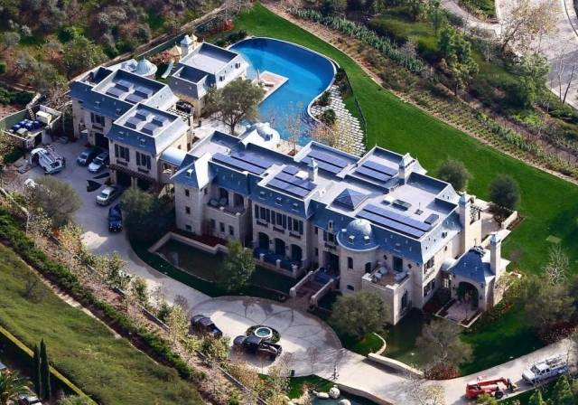 Mansion with solar panels