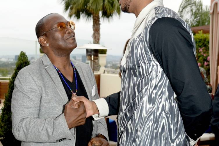 Carmelo Anthony (R) and Randy Jackson at Carmelo Anthony Kehinde Wiley Dinner Hosted by GREY GOOSE