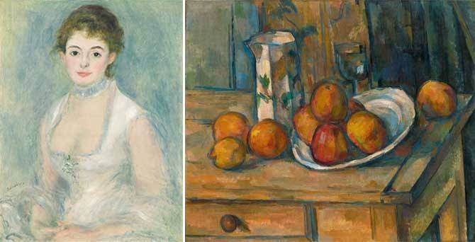 L: Pierre-Auguste Renoir, Madame Henriot, ca. 1876. Oil on canvas. National Gallery of Art, Washington, gift of the Adele R. Levy Fund, Inc. R: Paul Cézanne, Still Life with Milk Jug and Fruit, ca. 1900. Oil on canvas. National Gallery of Art, Washington, gift of the Averell Harriman Foundation in memory of Marie N. Harriman  Source:  https://legionofhonor.famsf.org