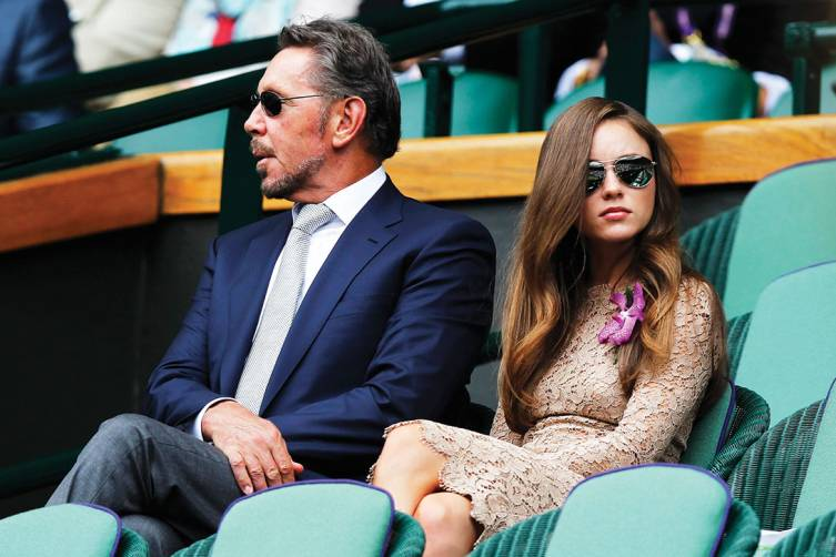 Larry Ellison and Nikita Kahn at Wimbledon Center Court Royal Box