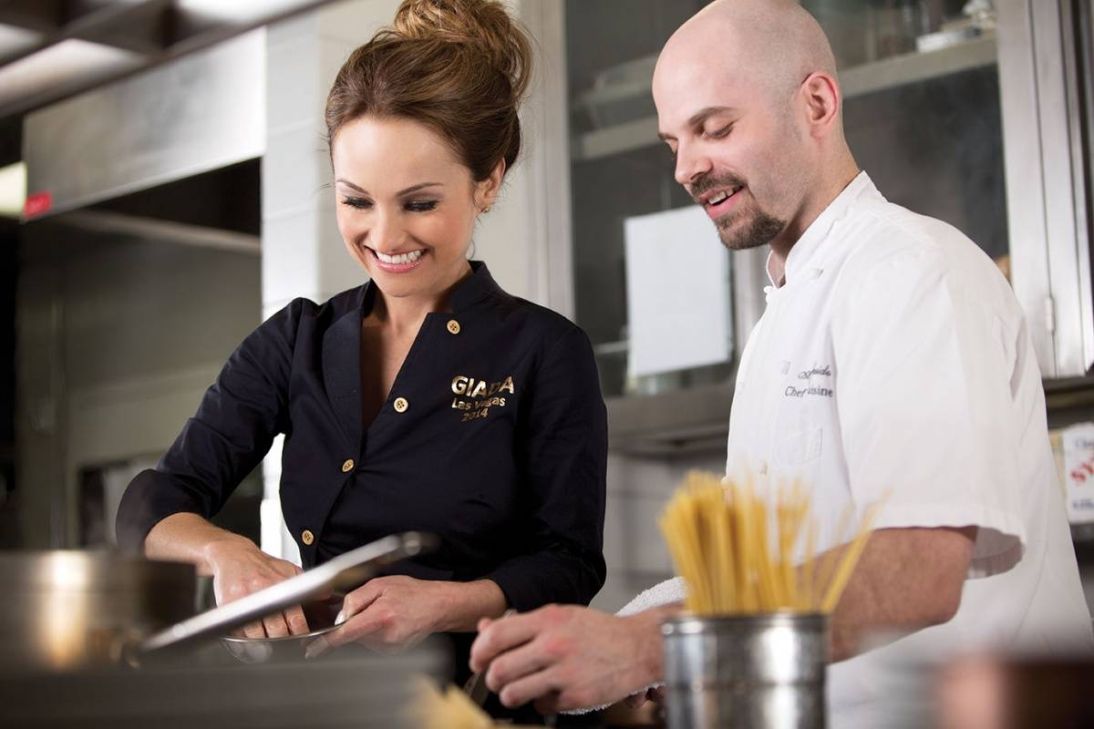 Giada De Laurentiis cooks in her brand new kitchen at Giada