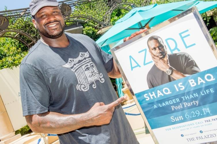 Shaq hosting a pool party at Azure Luxury pool at The Palazzo Las Vegas