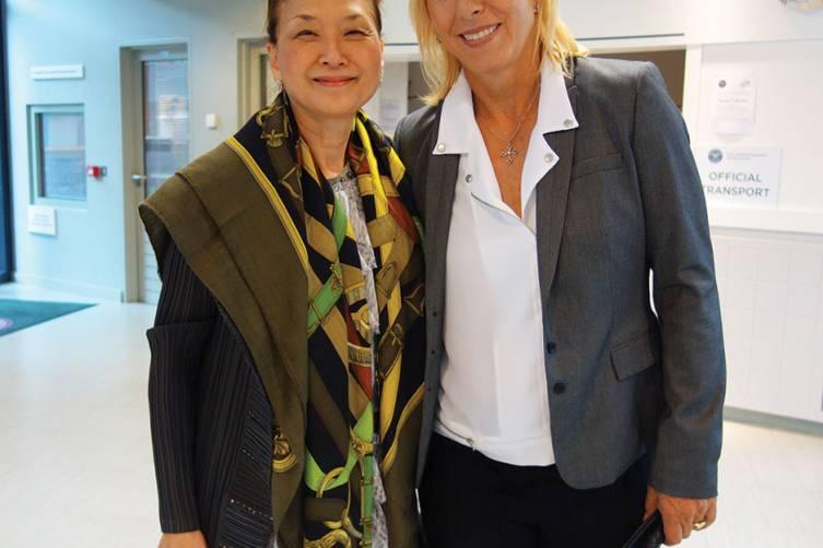 Olivia with 9 time Wimbledon champion Martina Navratilova at the Player's Lounge