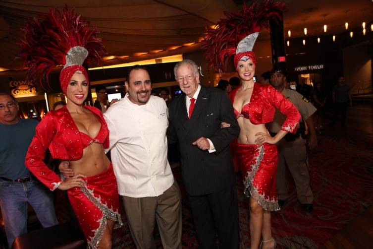 Chef Barry S. Dakake with Oscar Goodman in front of Lao Sze Chuan