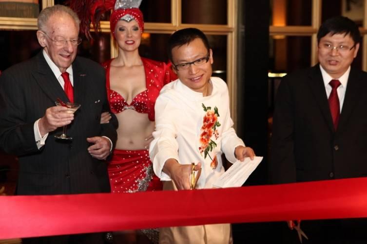 Chef Tony Hu cuts ribbon at Lao Sze Chuan grand opening