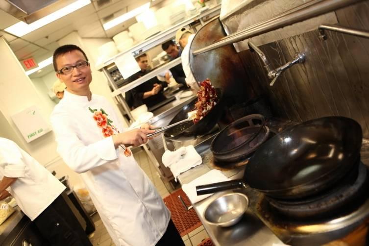 Chef Tony Hu prepares Three Chili Chicken