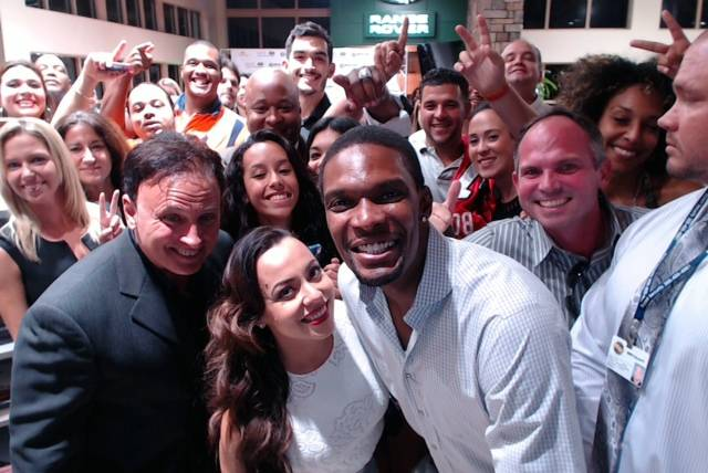 Chris and Adrienne Bosh Selfie with Guests