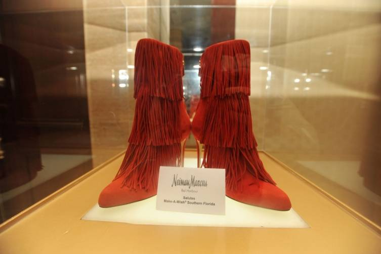 Red Designer boots for auction
