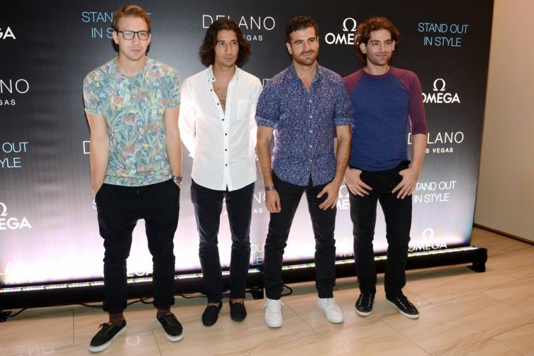 Magic! band members Alex Tanas, Nasri, Mark Pellizzer and Ben Spivak arrive on the red carpet at Delano Las Vegas' grand opening, 9.18.14