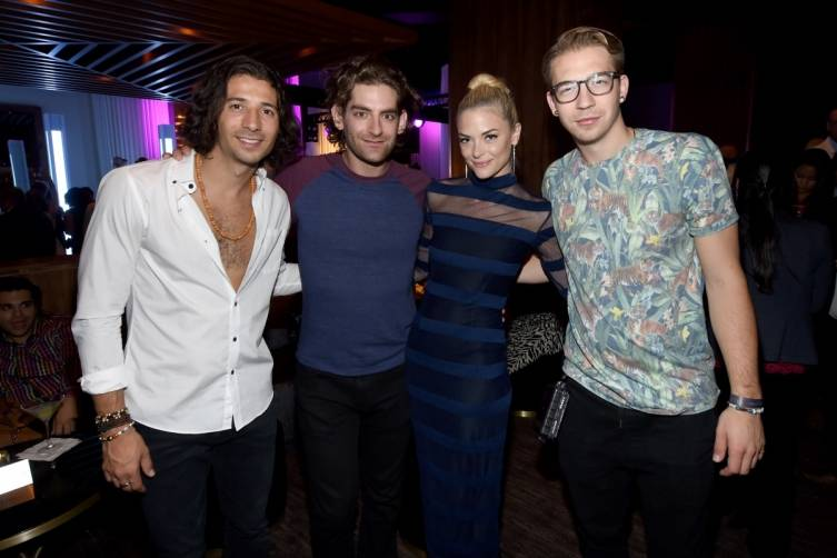Magic! band members Nasri, Ben Spivak and Alex Tanas celebrate Delano Las Vegas' grand opening with event host Jaime King, 9.18.14