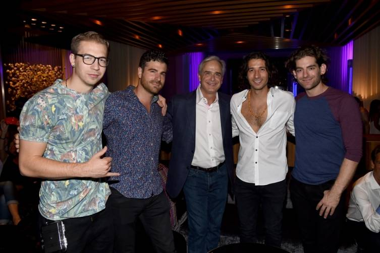Magic! bandmembers celebrate Delano Las Vegas' opening with Mandalay Bay Resort & Casino's president and COO, Chuck Bowling, 9.18.14