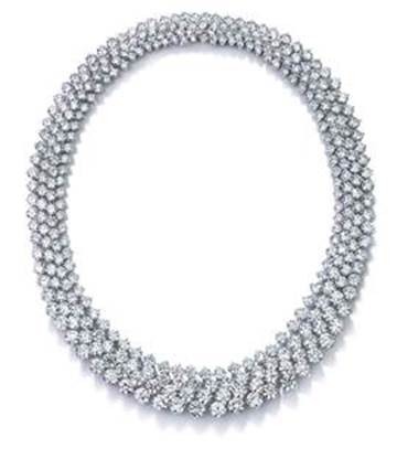 Four-row round brilliant-cut diamond necklace set in platinum $780,000