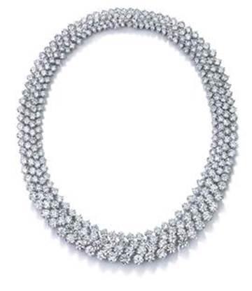 Four-row round brilliant-cut diamond necklace set in platinum $780,000