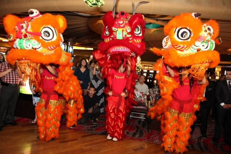 Onlookers enjoy Chinese lion dance