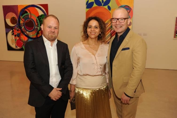 PAMM Chief Curator Tobias Ostrander, Beatriz Milhazes & PAMM Director Thom Collins