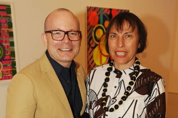 PAMM Director Thom Collins & artist Polly Apfelbaum at PAMM's celebration of Beatriz Milhazes: Jardim Botânico