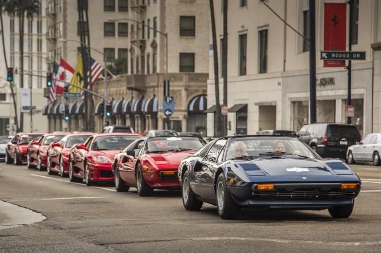 A fleet of Ferraris