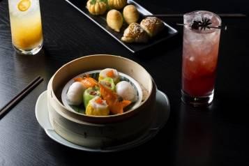 Dim sum platter and cocktails