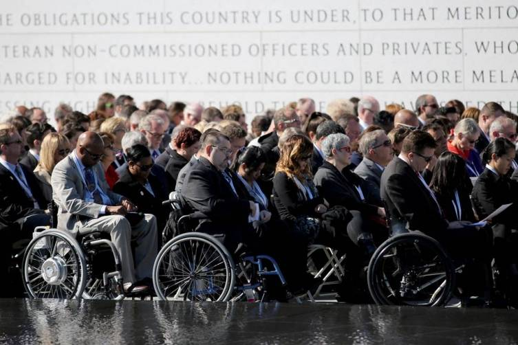 Disabled veterans attend dedication ceremony. Getty Images