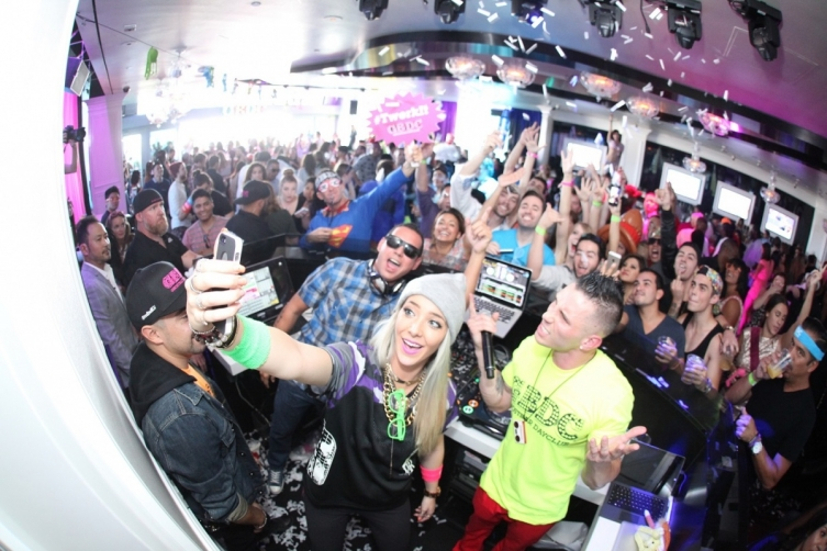 Jenna Marbles takes a selfie at Ghostbar Dayclub