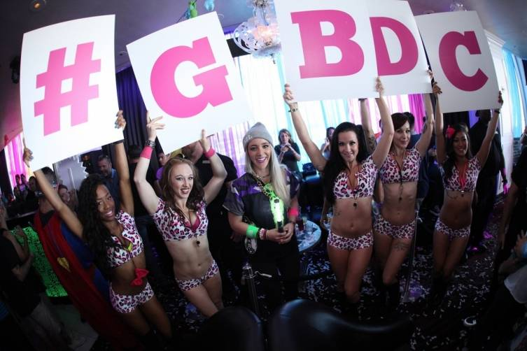 Jenna Marbles with go go dancers