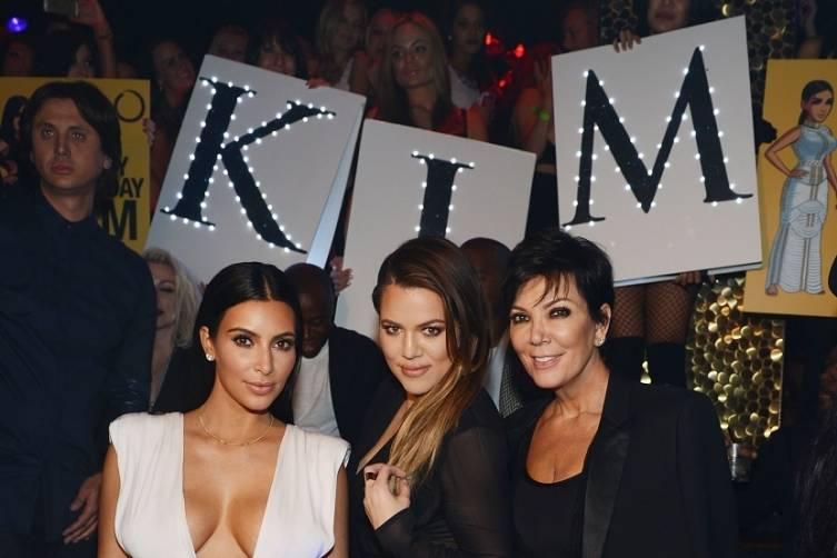 Kim Kardashian West, Khloe Kardashian and Kris Jenner at Kim's 34th Birthday at TAO