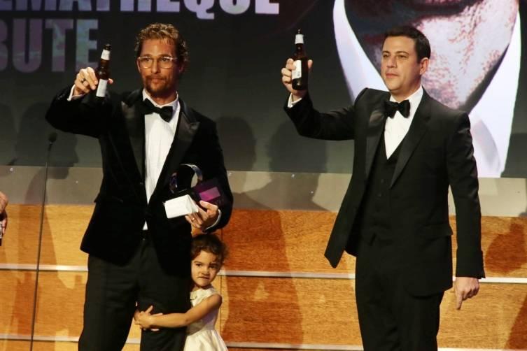 Matthew McConaughey, Vida McConaughey and Jimmy Kimmel