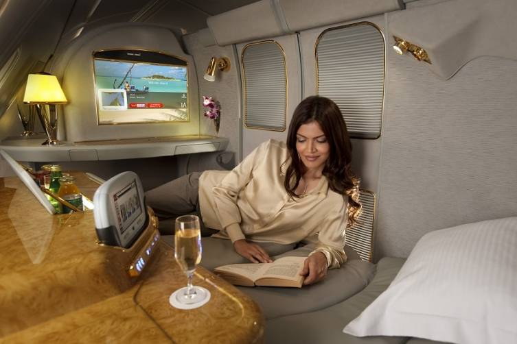a peek inside the haute emirates a380 sfo to dubai. Black Bedroom Furniture Sets. Home Design Ideas