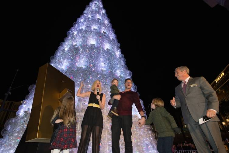 Tori Spelling, Dean McDermott and their family and John Caparella President and COO of The Venetian The Palazzo and Sands Expo light The Christmas Tree