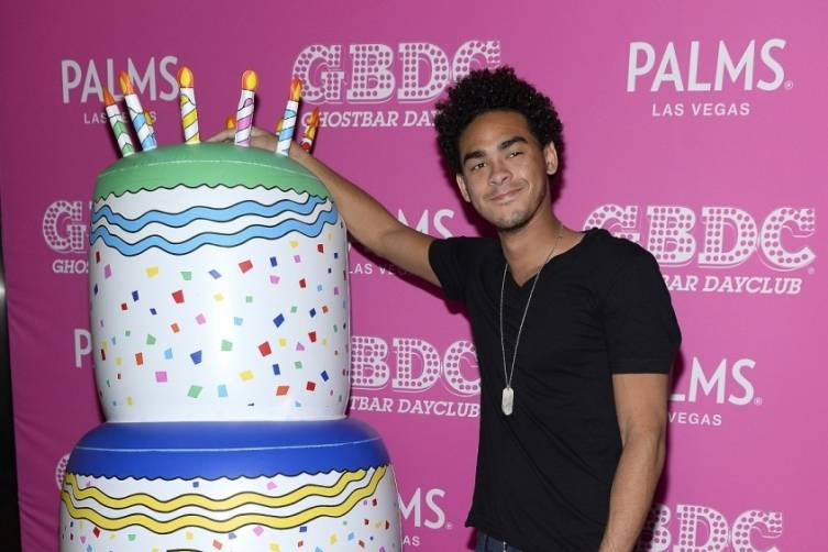 Trey Smith aka DJ Ace Arrives to His Birthday Party at Ghostbar Dayclub at Palms Casino Resort (Bryan Steffy Wire Image)