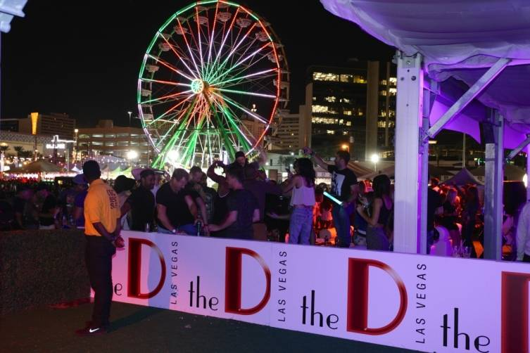 View of Life is Beautiful festival grounds and ferris wheel from the D's VIP cabana